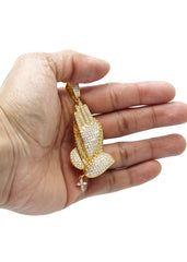 Mens Gold Praying Hands Pendant | 20 Grams