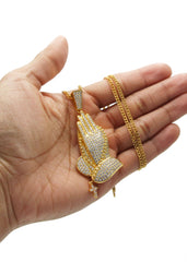 Gold Cuban Link Chain & Praying Hands Pendant | Appx. 28 Grams