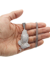 White Gold Cuban Link Chain & Praying Hands Pendant | Appx. 28 Grams