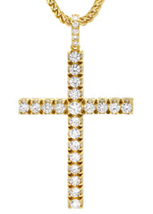 Mens Gold Franco Chain & Cross Pendant | Appx. 30.5 Grams