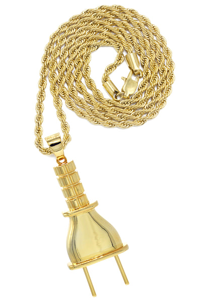 Mens Gold Rope Chain & Plug Pendant | Appx. 23.4 Grams