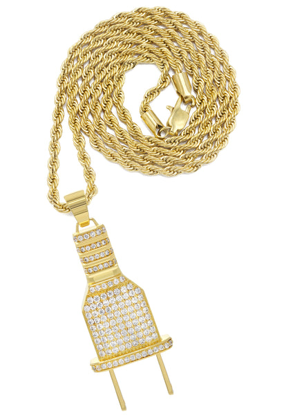 Mens Gold Rope Chain & Plug Pendant | Appx. 23.7 Grams
