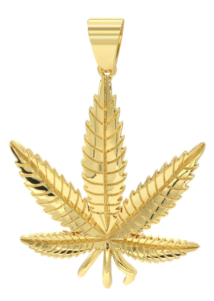 Mens Gold Marihuana Leaf Pendant | 9.4 Grams