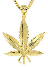 Mens Gold Franco Chain & Marihuana Leaf Pendant | Appx. 17.4 Grams