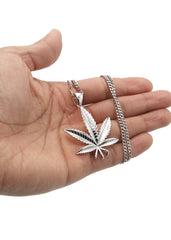 White Gold Cuban Link Chain & Marihuana Leaf Pendant | Appx. 17.4 Grams