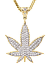 Mens Gold Franco Chain & Marihuana Leaf Pendant | Appx. 21.6 Grams