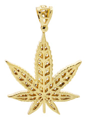 Mens Gold Marijuana Leaf Pendant | 13.6 Grams