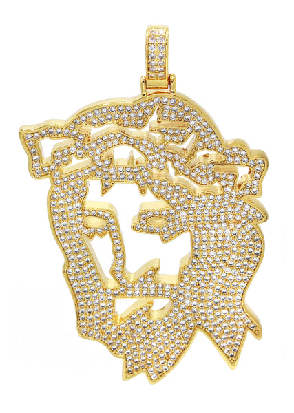 Mens Gold Jesus Head Pendant | 38.5 Grams