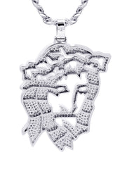 White Gold Cuban Link Chain & Jesus Head Pendant | Appx. 46.5 Grams