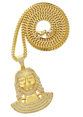 Mens Gold Franco Chain & Jesus Piece Chain | Appx. 22.1 Grams