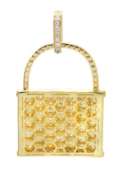 Mens Gold Lock Pendant | 10.7 Grams