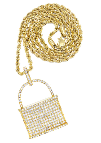 Mens Gold Rope Chain & Lock Pendant | Appx. 18.7 Grams