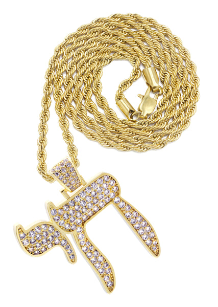 Mens Gold Rope Chain & Chai  Pendant | Appx. 19.4 Grams