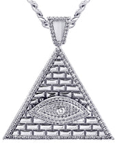 White Gold Cuban Link Chain & Illuminate Pendant | Appx. 27.3 Grams