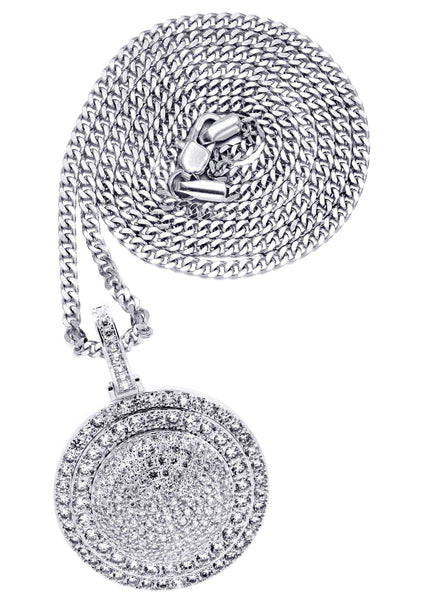 White Gold Cuban Link Chain & Dog Tag Pendant | Appx. 30.3 Grams