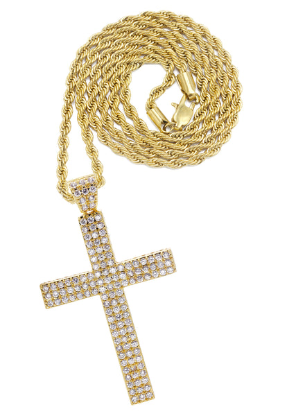 Mens Gold Rope Chain & Cross Pendant | Appx. 19.9 Grams