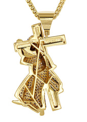 Mens Gold Franco Chain & Cross Pendant | Appx. 14.4 Grams
