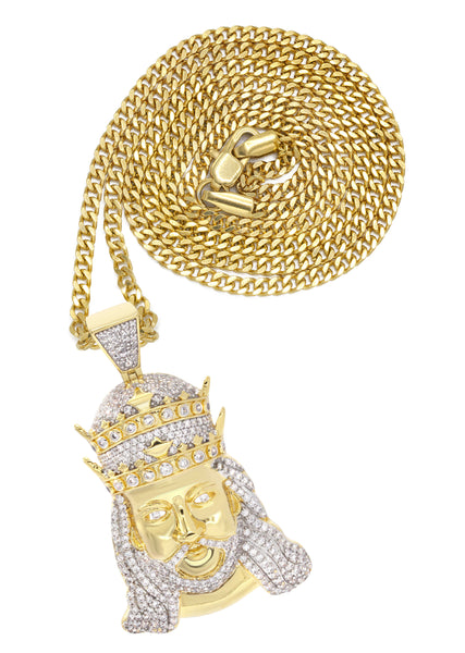 Mens Gold Cuban Link Chain & King Pendant | Appx. 19.5 Grams