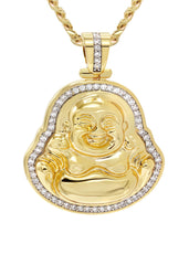 Mens Gold Cuban Link Chain & Buddha Pendant | Appx. 18 Grams