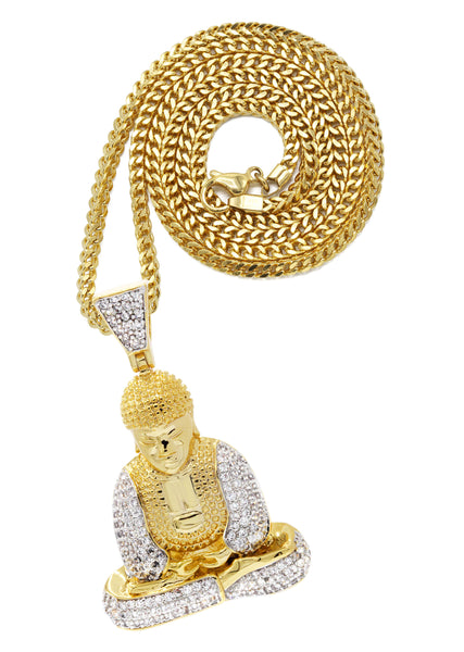 Mens Gold Franco Chain & Buddha Pendant | Appx. 14 Grams