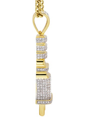 Mens Gold Cuban Link Chain & Plug Pendant | Appx. 19.8 Grams