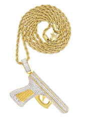 Mens Gold Rope Chain & Gun Pendant | Appx. 16.2 Grams