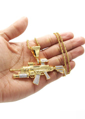 Mens Gold Rope Chain & Gun Pendant | Appx. 31.9 Grams