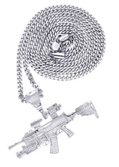 White Gold Cuban Link Chain & Gun Pendant | Appx. 31.9 Grams