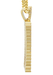 Mens Gold Franco Chain & Dog Tag Pendant | Appx. 28 Grams