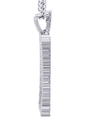 White Gold Cuban Link Chain & Dog Tag Pendant | Appx. 28 Grams