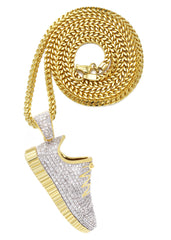 Mens Gold Franco Chain & Sneaker Pendant | Appx. 30.9 Grams