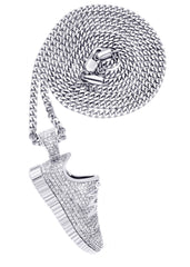 White Gold Cuban Link Chain & Sneaker Pendant | Appx. 30.9 Grams