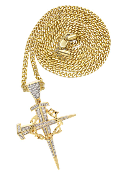 Mens Gold Cuban Link Chain & Cross Pendant | Appx. 14.4 Grams