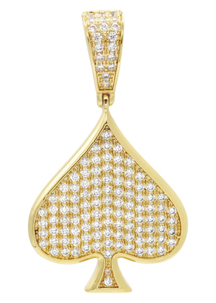 Mens Gold Plated Ace of Spades Pendant | 7.9 Grams