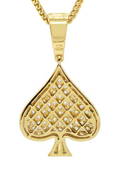 Mens Gold Franco Chain & Ace of Spades Pendant | Appx. 15.9 Grams