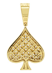 Mens Gold Ace of Spades Pendant | 7.9 Grams