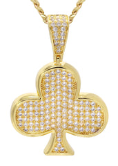 Mens Gold Cuban Link Chain & Clover Pendant | Appx. 18.8 Grams