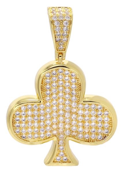 Mens Gold Plated Clover Pendant | 10.8 Grams