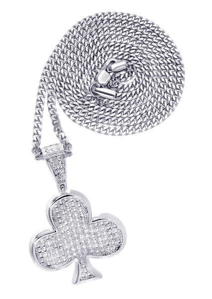 White Gold Cuban Link Chain & Trebol Pendant | Appx. 18.8 Grams