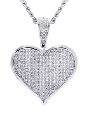 White Gold Cuban Link Chain & Heart Pendant | Appx. 19.5 Grams