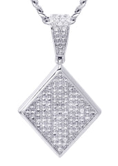 White Gold Cuban Link Chain & Diamond Pendant | Appx. 16.1 Grams