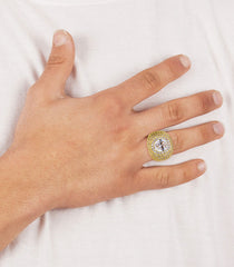 Gold Clear Crystal Ring | 13.8 Grams