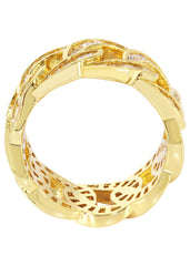 Mens Gold Cuban Link Ring | 6.6 Grams