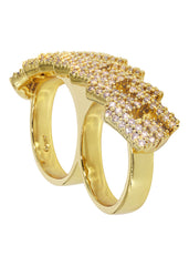 Mens Gold Prong Cuban 2 Finger Ring | 19 Grams