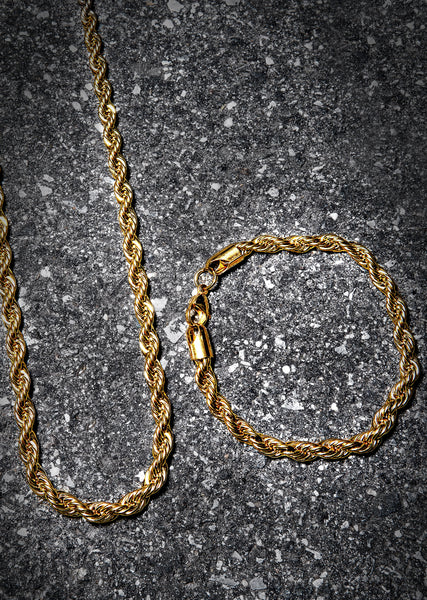 Solid Gold Rope Chain & Bracelet ( 6 Mm )