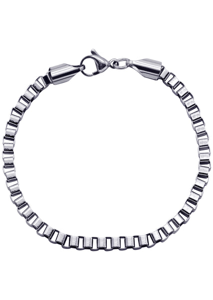14K White Gold Box Bracelet