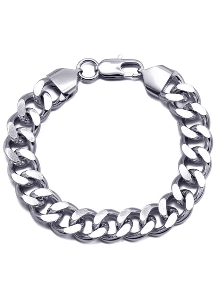 14K White Gold Cuban Curb Bracelet