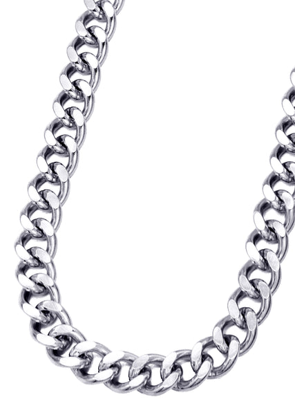 14K White Gold Mens Cuban Curb Chain