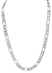 14K White Gold Mens Figaro Chain