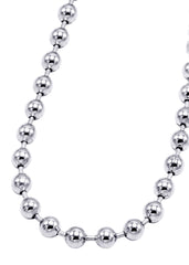 14K White Gold Mens Dog Tag Chain